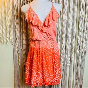 Indah Coral/Orange Ombre Print Mini Dress Size MED